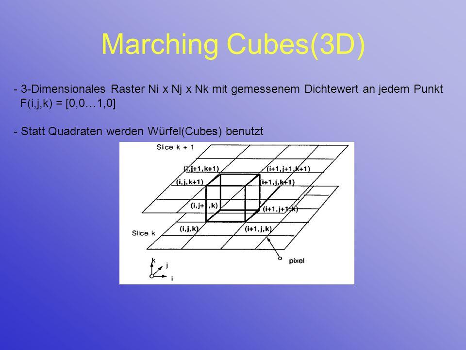 Marching Cubes(3D) - 3-Dimensionales Raster Ni x Nj x Nk mit gemessenem Dichtewert an jedem Punkt F(i,j,k) = [0,0…1,0]